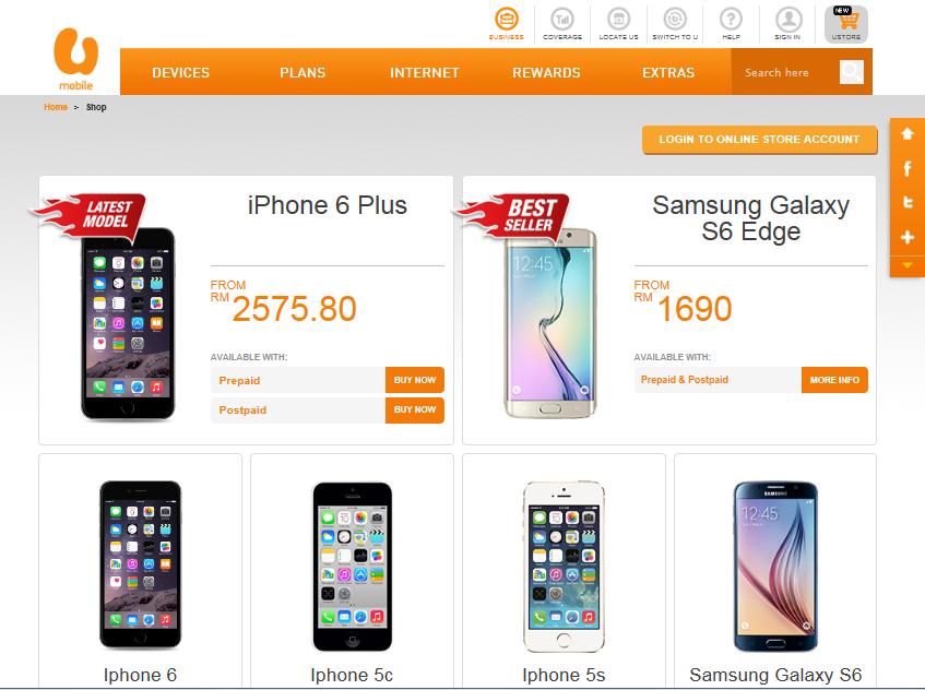 U mobile online store for Shop mobili online